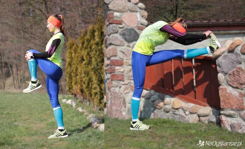 2. Rozciągamy mięśnie obręczy biodrowej i mięsień dwugłowy uda. / 3. Rozciąganie pasma tylnego nóg przy murku.